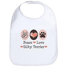 Peace Love Silky Terrier Bib
