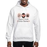 Peace Love Silky Terrier Hooded Sweatshirt