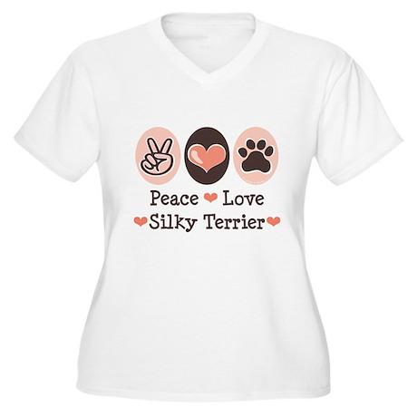 Peace Love Silky Terrier Women's Plus Size V-Neck