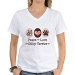 Peace Love Silky Terrier Women's V-Neck T-Shirt