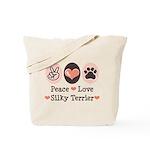 Peace Love Silky Terrier Tote Bag