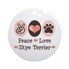 Peace Love Skye Terrier Ornament (Round)