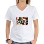 Buttons - Create - Sewing Cra Women's V-Neck T-Shi