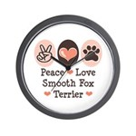 Peace Love Smooth Fox Terrier Wall Clock