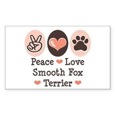 Peace Love Smooth Fox Terrier Sticker (Rectangular
