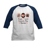Peace Love Smooth Fox Terrier Kids Baseball Jersey