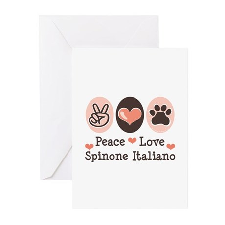 Peace Love Spinone Italiano Greeting Cards (Pk of