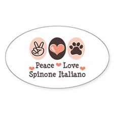 Peace Love Spinone Italiano Oval Decal