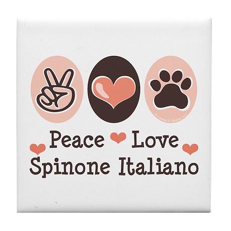 Peace Love Spinone Italiano Tile Coaster