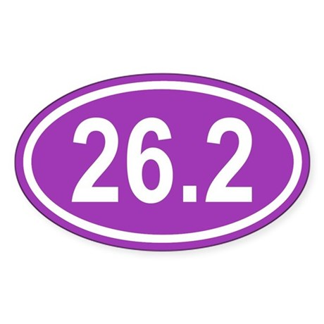 26.2 Marathon Purple Euro Oval Sticker