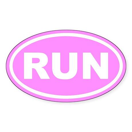 RUN Running Pink Euro Oval Sticker