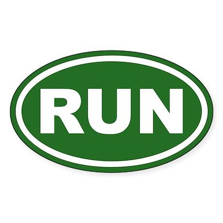 RUN Running Green Euro Oval Sticker