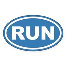 RUN Running Blue Euro Oval Bumper Stickers