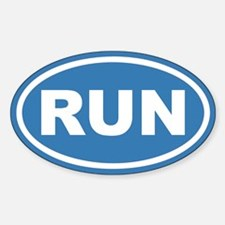 RUN Running Blue Euro Oval Decal