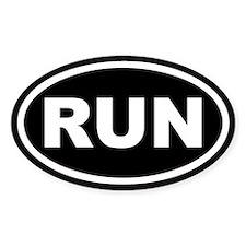 RUN Running Black Euro Oval Bumper Stickers