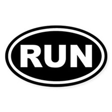 RUN Running Black Euro Oval Stickers