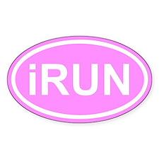 iRUN I Run Pink Euro Oval Decal