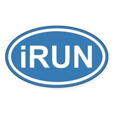 iRUN I RUN Blue Euro Oval Decal