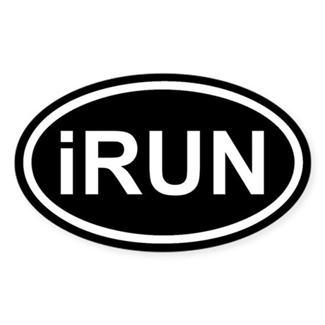 iRUN I RUN Black Euro Oval Sticker
