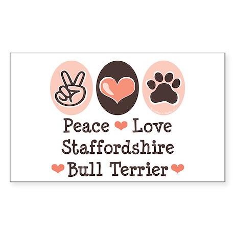 Peace Love Stafford Bull Terrier Sticker (Rectangu
