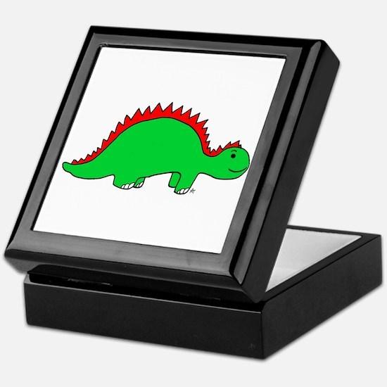 Smiling Green Stegosaurus Keepsake Box