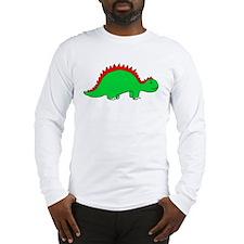 Smiling Green Stegosaurus Long Sleeve T-Shirt