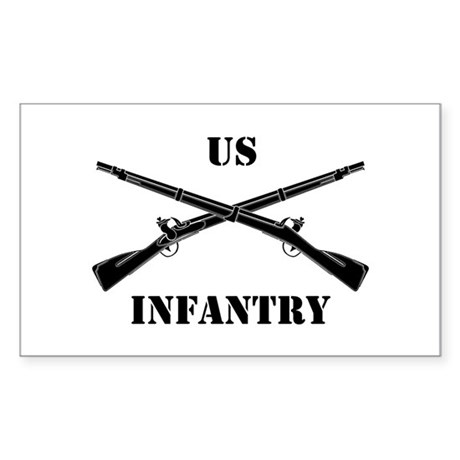 Infantry Branch Insignia (3b) Sticker (Rectangular