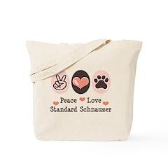 Peace Love Standard Schnauzer Tote Bag