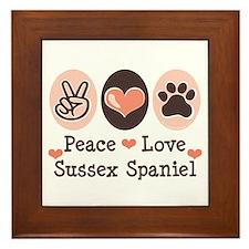 Peace Love Sussex Spaniel Framed Tile