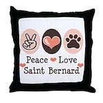 Peace Love Saint Bernard Throw Pillow