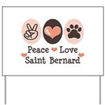 Peace Love Saint Bernard Yard Sign