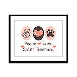 Peace Love Saint Bernard Framed Panel Print