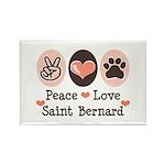 Peace Love Saint Bernard Rectangle Magnet (10 pack