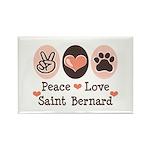 Peace Love Saint Bernard Rectangle Magnet (100 pac