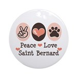 Peace Love Saint Bernard Ornament (Round)