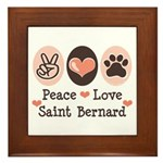 Peace Love Saint Bernard Framed Tile