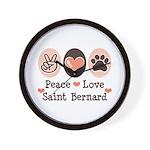 Peace Love Saint Bernard Wall Clock