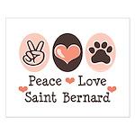 Peace Love Saint Bernard Small Poster