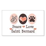 Peace Love Saint Bernard Rectangle Sticker