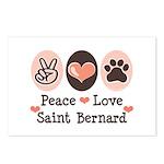 Peace Love Saint Bernard Postcards (Package of 8)