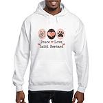 Peace Love Saint Bernard Hooded Sweatshirt