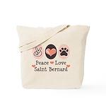Peace Love Saint Bernard Tote Bag