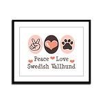 Peace Love Swedish Vallhund Framed Panel Print