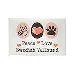 Peace Love Swedish Vallhund Rectangle Magnet (10 p