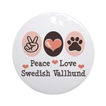 Peace Love Swedish Vallhund Ornament (Round)