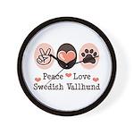 Peace Love Swedish Vallhund Wall Clock