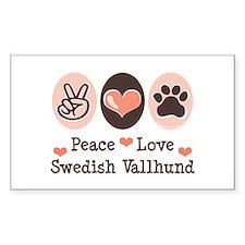 Peace Love Swedish Vallhund Rectangle Decal