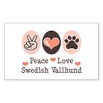 Peace Love Swedish Vallhund Rectangle Sticker