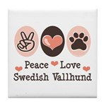 Peace Love Swedish Vallhund Tile Coaster