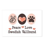 Peace Love Swedish Vallhund Postcards (Package of